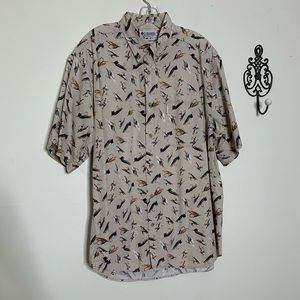 VTG Columbia Cotton Fly Fishing Lures S/S  Sz L